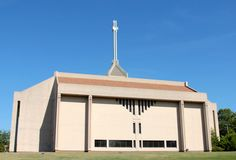 Modern Design Church House of Worship with Tall Crosses Atop Royalty Free Stock Photos