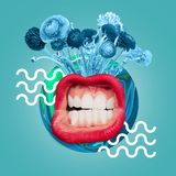 Modern design. Contemporary art collage. Big female mouth with the white teeth and red lips. Blue flowers and drawn waves against ocean blue background royalty free illustration