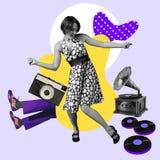Modern design, contemporary art collage. Inspiration, idea, trendy urban magazine style. Woman dancing among vintage
