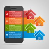 Modern design creative infographic with mobile phone. Stock Image