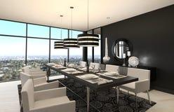 Modern Design Dining Room | Living Room Interior. A 3d rendering of Modern Design Dining Room | Living Room Interior Stock Photos