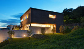 Modern design för arkitektur, hus Fotografering för Bildbyråer