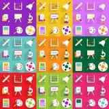 Modern design för rengöringsduksymboler för mobil utbildning för skuggasymbolsuppsättning Royaltyfri Bild