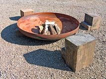 Modern design fire pit Stock Photography