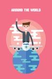 Modern design flat character global business vector illustration Royalty Free Stock Image