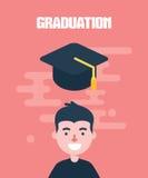 Modern design flat character graduation vector illustration Royalty Free Stock Photos
