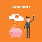 Modern design flat character saving money vector illustration Stock Photo