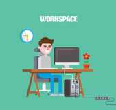 Modern design flat character workspace vector illustration Stock Image
