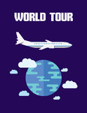 Modern design flat character world tour vector illustration Royalty Free Stock Images