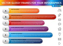 Modern design gradient glossy frames for infographics Royalty Free Stock Images