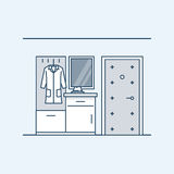 The modern design of the hall. Wardrobe with a bedside table in the hallway near the door. Coat and hat. Vector. Illustration in a linear style, isolated on a royalty free illustration
