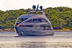 Modern design hi tech luxury yacht Stock Photo