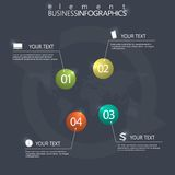 Modern design infographic 3d glossy ball elements template on dark background Stock Image