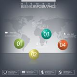 Modern design infographic 3d glossy ball elements template on dark background.  Royalty Free Stock Photos