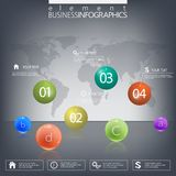Modern design infographic 3d glossy ball elements. Template on dark background Royalty Free Stock Images