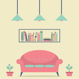 Modern Design Interior Chair and Bookshelf Stock Photos