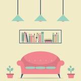 Modern Design Interior Chair and Bookshelf. Illustration Stock Photos
