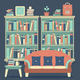 Modern Design Interior Chairs and Bookshelf Stock Images
