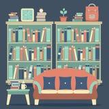 Modern Design Interior Chairs and Bookshelf. Illustration Stock Images