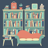 Modern Design Interior Chairs and Bookshelf. Illustration Royalty Free Stock Images