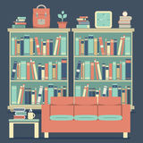 Modern Design Interior Chairs and Bookshelf Royalty Free Stock Image
