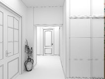 Modern design interior of hall,corridor. 3D render Stock Photo