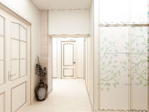 Modern design interior of hall,corridor. 3D render Stock Photos