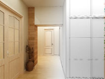 Modern design interior of hall,corridor. 3D render Royalty Free Stock Photo