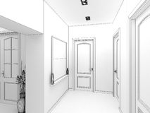 Modern design interior of hall,corridor. 3D render Royalty Free Stock Image
