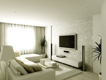 Modern design interior of living-room stock illustration
