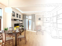 Modern design interior of living-room. 3D render Royalty Free Stock Photography