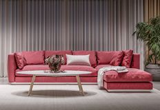 Modern design interior living room, red sofa. White background, high contrast, night scene stock image