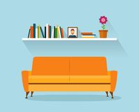 Modern design interior orange sofa and bookshelves. Retro flat style. Stock Photo