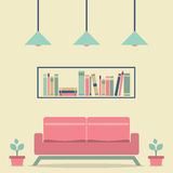 Modern Design Interior Sofa and Bookshelf Stock Photos