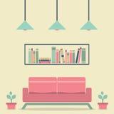 Modern Design Interior Sofa and Bookshelf. IIlustration Stock Photos