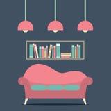 Modern Design Interior Sofa and Bookshelf. Illustration Stock Photos