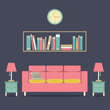 Modern Design Interior Sofa and Bookshelf Stock Photo