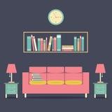 Modern Design Interior Sofa and Bookshelf. Illustration Stock Photo