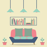 Modern Design Interior Sofa and Bookshelf. Illustration Royalty Free Stock Photography