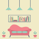 Modern Design Interior Sofa and Bookshelf Royalty Free Stock Photography