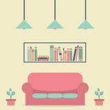 Modern Design Interior Sofa and Bookshelf. Illustration Stock Image