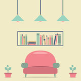 Modern Design Interior Sofa and Bookshelf Royalty Free Stock Photos