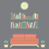 Modern Design Interior Sofa and Bookshelf Stock Image