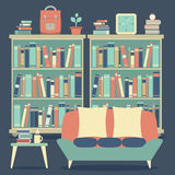 Modern Design Interior Sofa and Bookshelf Royalty Free Stock Photo