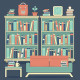 Modern Design Interior Sofa and Bookshelf Royalty Free Stock Image