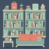Modern Design Interior Sofa and Bookshelf Royalty Free Stock Image