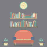 Modern Design Interior Sofa And Bookshelves Royalty Free Stock Photos