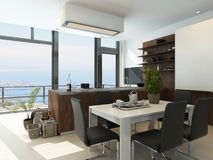 Modern design kitchen interior. Picture of Modern design kitchen interior Royalty Free Stock Image