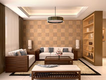 Modern design living room warm colors. Stock Photos