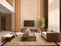 Modern design living room warm colors. Royalty Free Stock Images